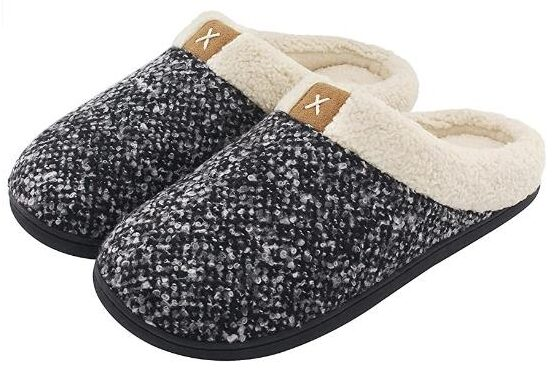 men's Cozy Memory Foam for elders with Fuzzy Plush Wool Like Lining, Slip-on Clog House Shoes