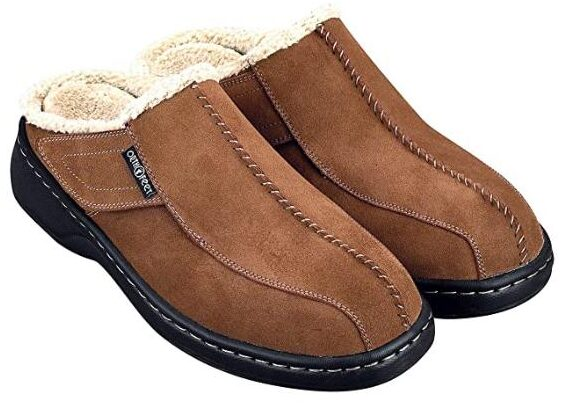 Orthofeet Proven Plantar Fasciitis Pain Relief Arch Support Orthopedic Men's Leather slipper for elders